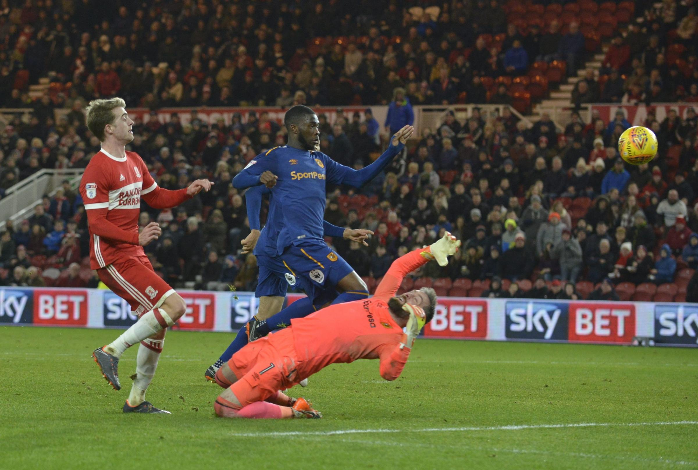 ON TARGET: Patrick Bamford claims Middlesbrough's second goal in their 3-1 win over Hull City (Picture: North News)