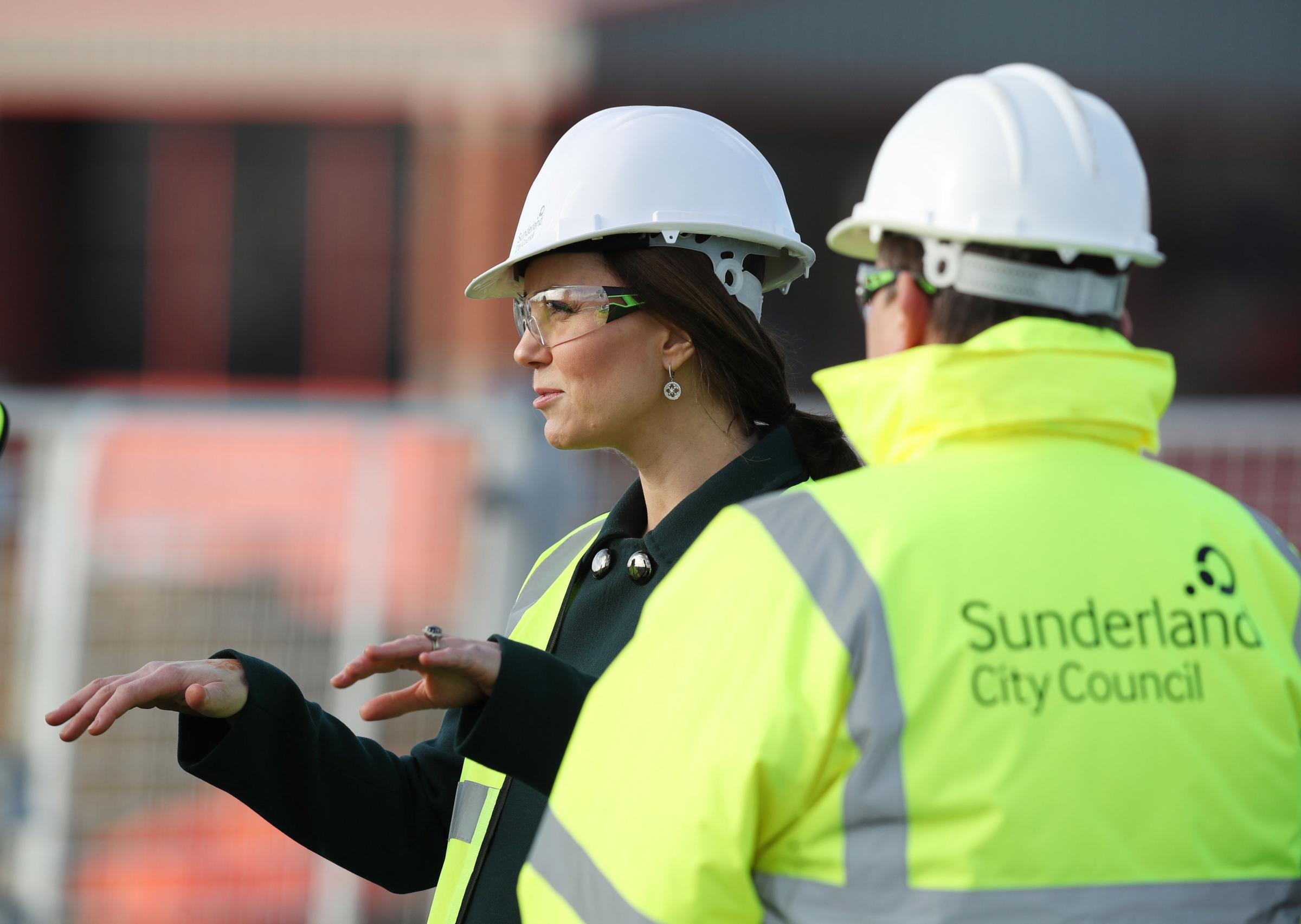The Duchess of Cambridge wears a safety helmet during a visit to the Northern Spire bridge across the River Wear in Sunderland. Picture: PA