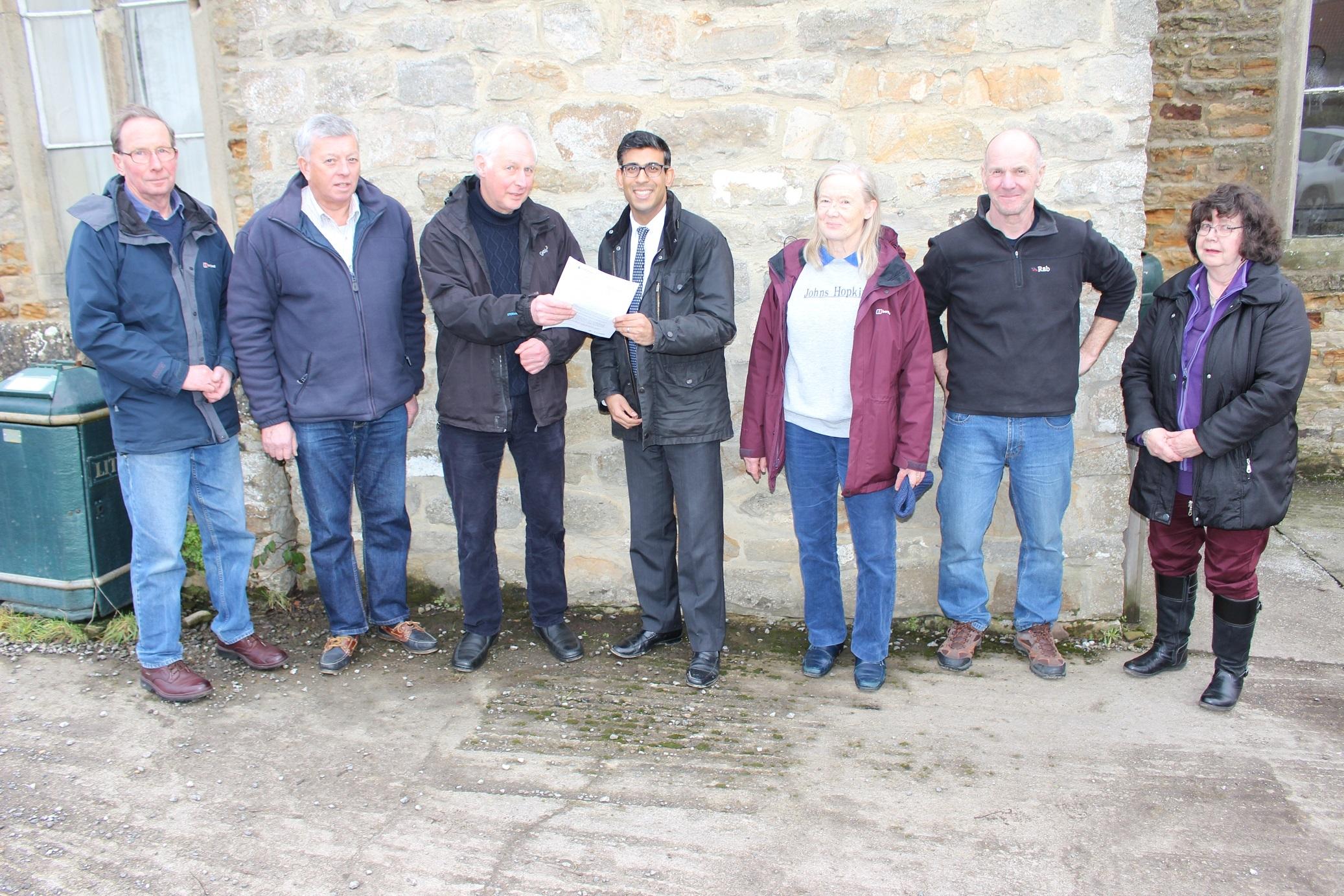 SAFETY: Rishi Sunak is presented with a dossier of evidence by members of Ravensworth Parish Council and the A66 Action Group