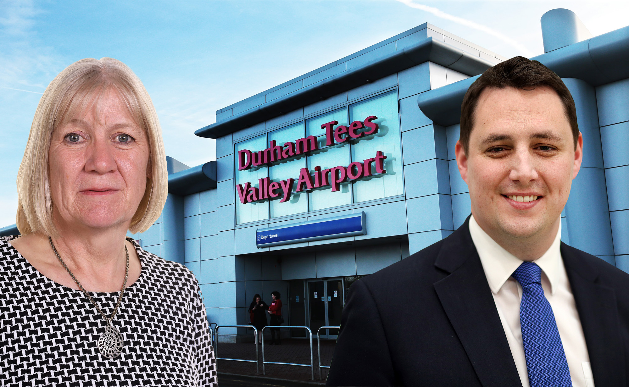 PROPOSALS: Sue Jeffrey, the leader of Redcar and Cleveland Council, left, says Tees Valley Mayor Ben Houchen, right, is yet to bring forward any proposal for Durham Tees Valley Airport Picture: SARAH CALDECOTT