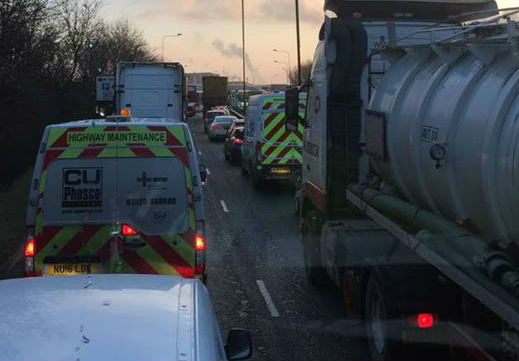 Gridlock on the A66 caused by a protest in Middlesbrough