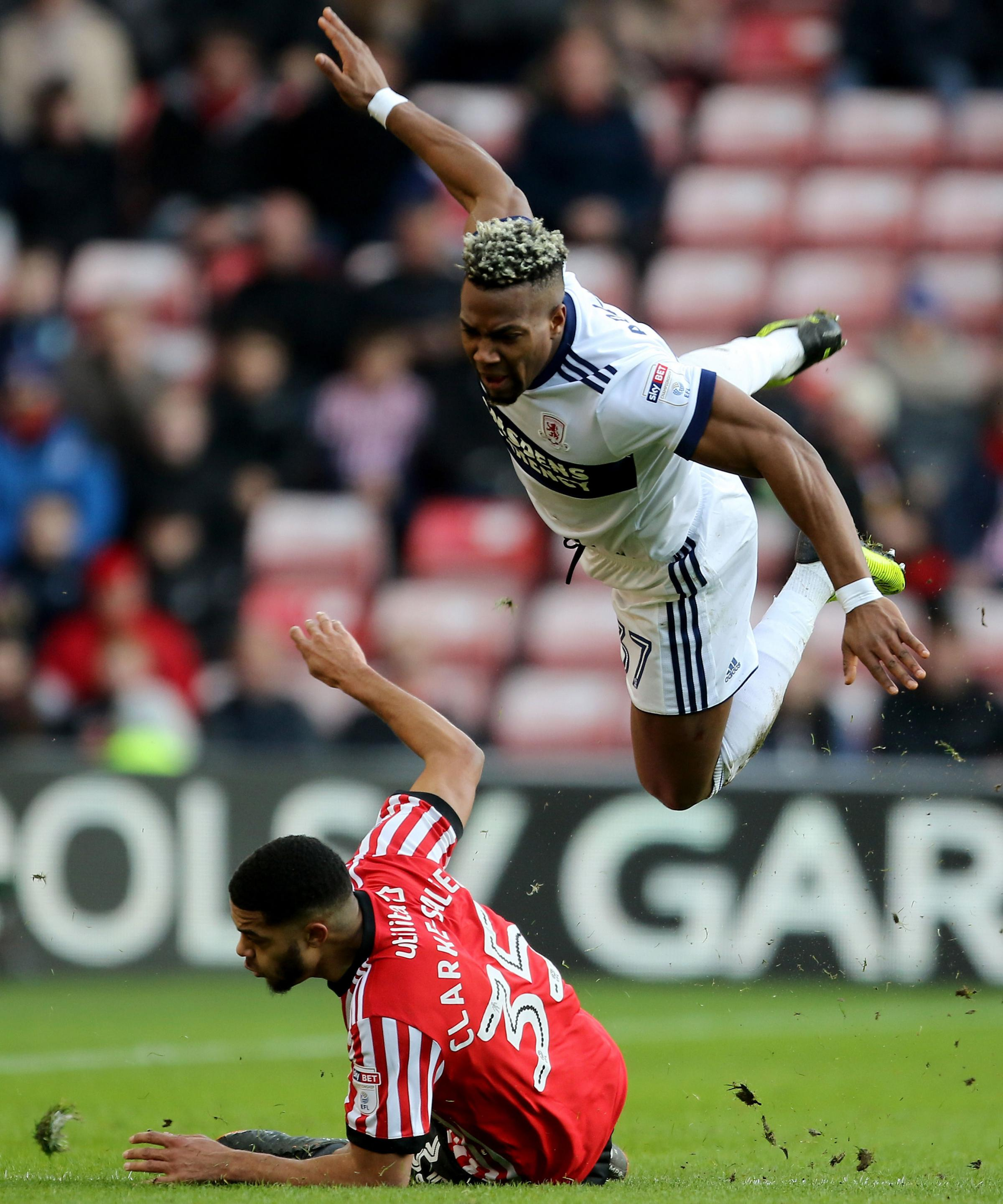 Flying: Sunderland's Jake Clarke-Salter tackles Middlesbrough's Adama Traore. Picture: PA
