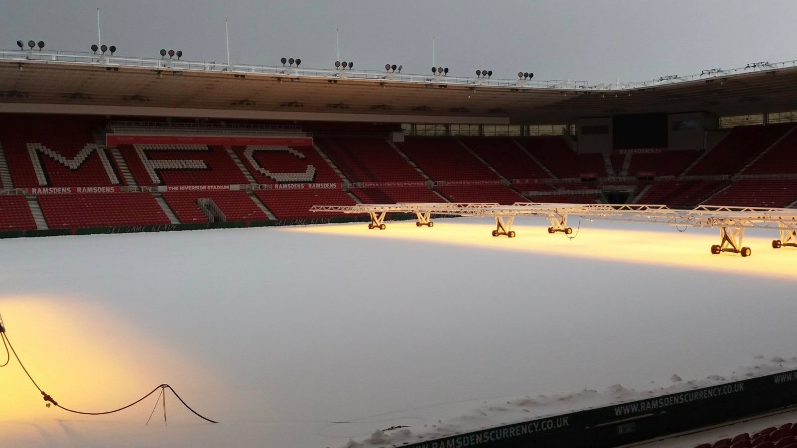 UNDER THREAT: The Riverside pitch is covered in snow today. Pictures courtesy of MFC