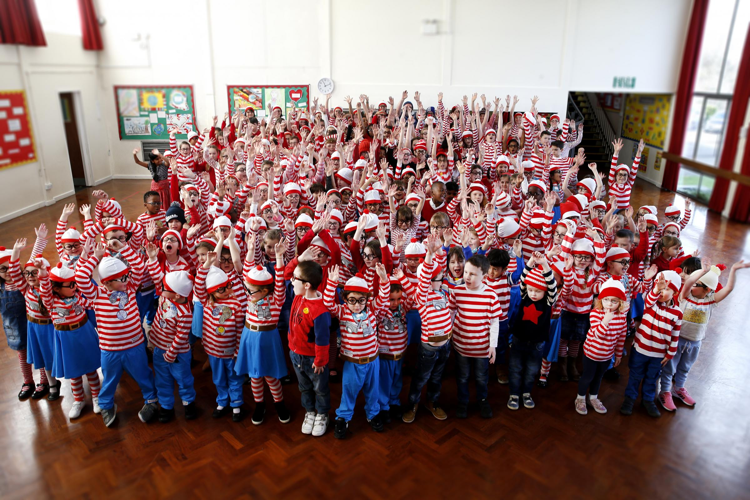 Children dressed as Where's Wally for World Book Day
