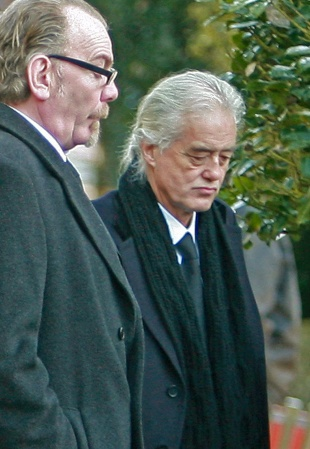 PAYING RESPECTS: Jimmy Page, right, at Darlington Crematorium yesterday for the funeral of talented  drummer Michael Lee
