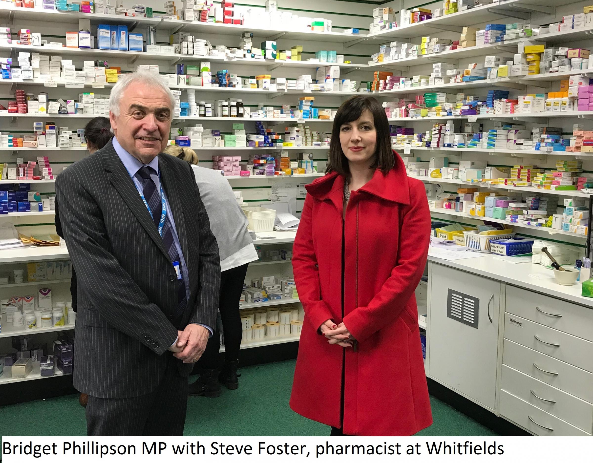 SUPPORT: MP Bridget Phillipson backs role of local chemist's on visit to Whitfield's Pharmacy in Houghton-le-Spring, where she met pharmacist manager Stephen Foster.