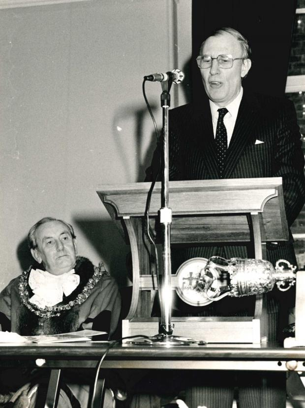 The Northern Echo: CEREMONY: Sir Roger Bannister speaks at the official opening of Darlington's Dolphin Centre in 1983, with Cllr Bill Newton looking on