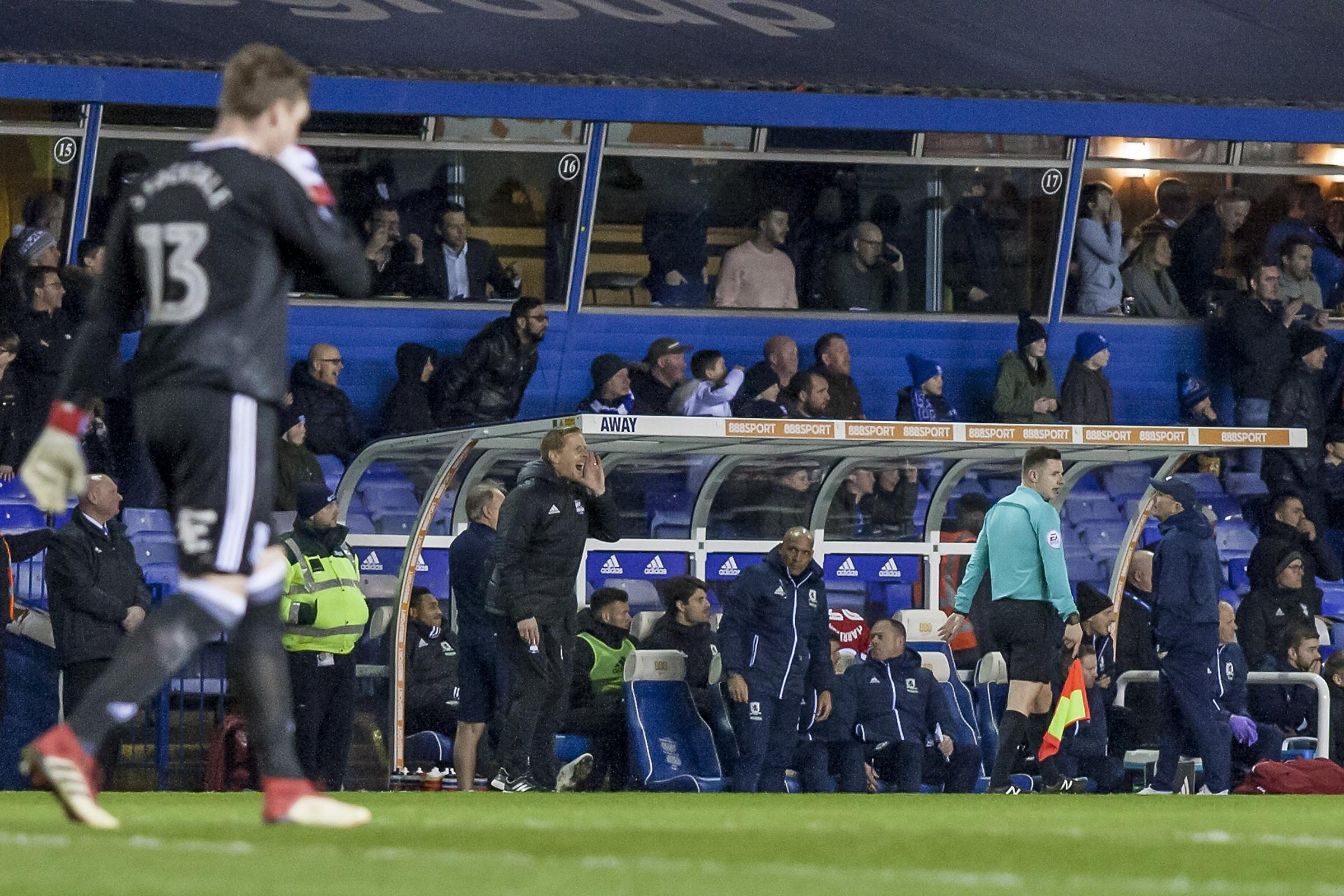 Garry Monk shouts instructions as Tony Pulis looks on. Picture: PA