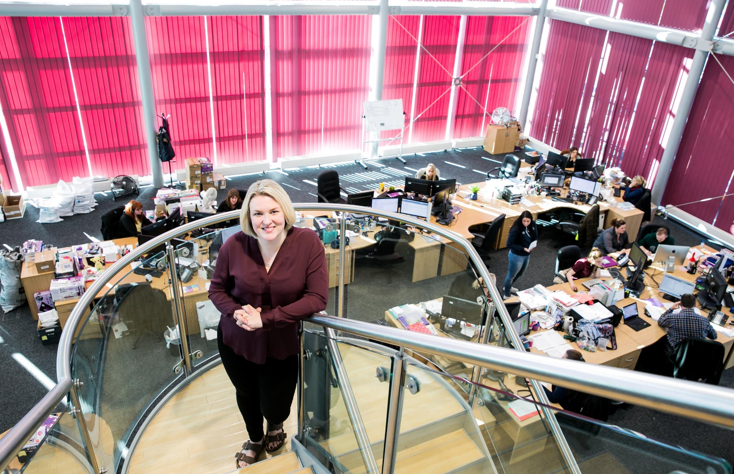 PLANS: Sara Davies, founder of Crafter's Companion, in its Newton Aycliffe headquarters