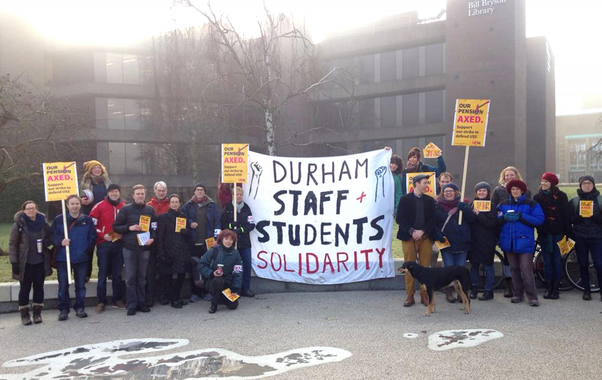 STRIKE: Lecturers on the picket line at Durham University Picture: Gavin Engelbrecht.