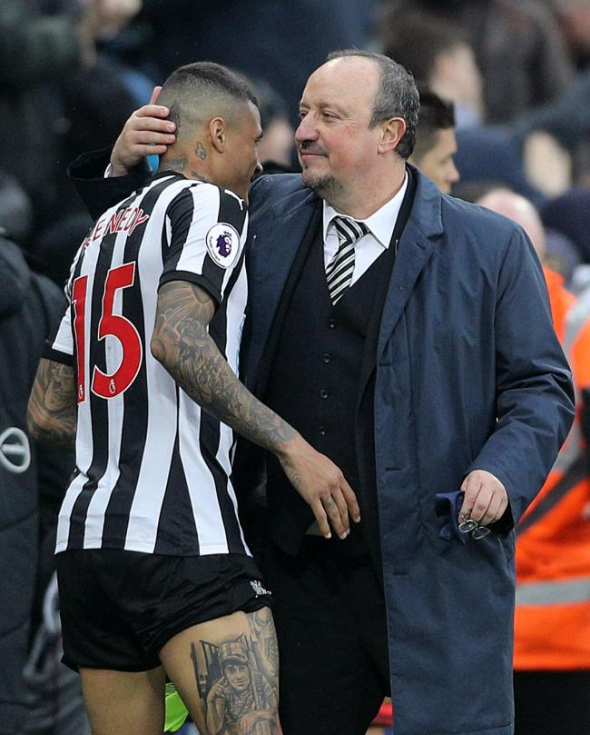 ALL SMILES: Rafael Benitez congratulates Kenedy after the Brazilian winger scored two goals in Newcastle's 3-0 win over Southampton (Picture: Owen Humphreys/PA Wire)
