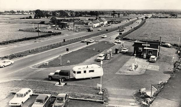 The Northern Echo: HOTEL VIEW: Looking south down the old dual carriageway at Scotch Corner in July 1970 from a hotel window. The petrol station directly beneath us is where the AA had its phone box. In the centre of the picture on the southbound carriageway is the Dalesway