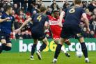 STRIKE: Adama Traore drills in his goal at the Riverside Stadium. Pictures: Tom Collins | MI News & Sport Ltd