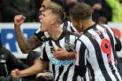 Newcastle United's Matt Ritchie (centre) celebrates scoring his side's third goal of the game during the Premier League match at St James' Park, Newcastle. PRESS ASSOCIATION Photo. Picture date: Saturday March 10, 2018. See PA story SOCCER New