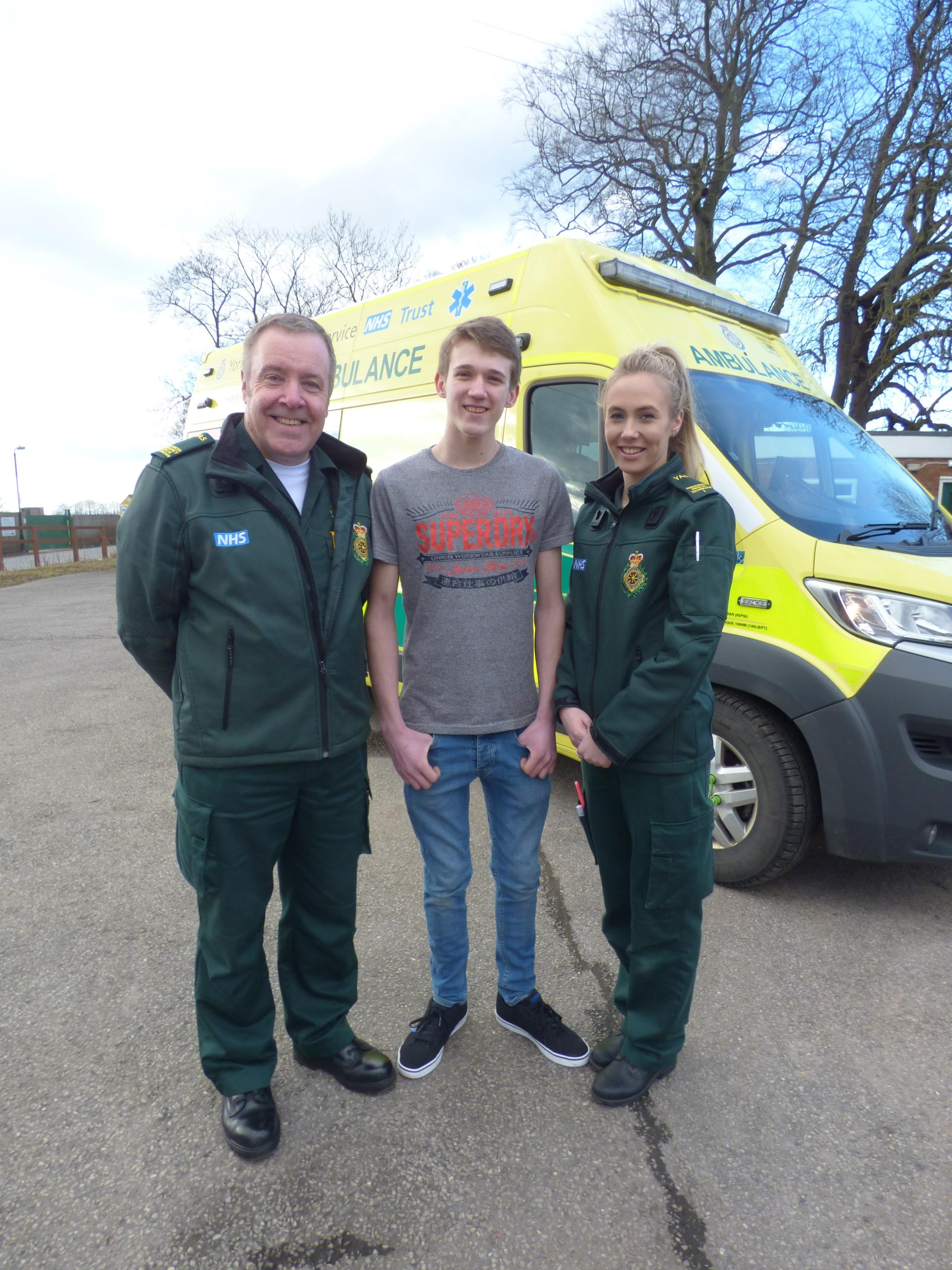 Advanced Emergency Medical Technician Dave Gardner, Conor Rowlands and Emergency Medical Technician Hannah Duffield
