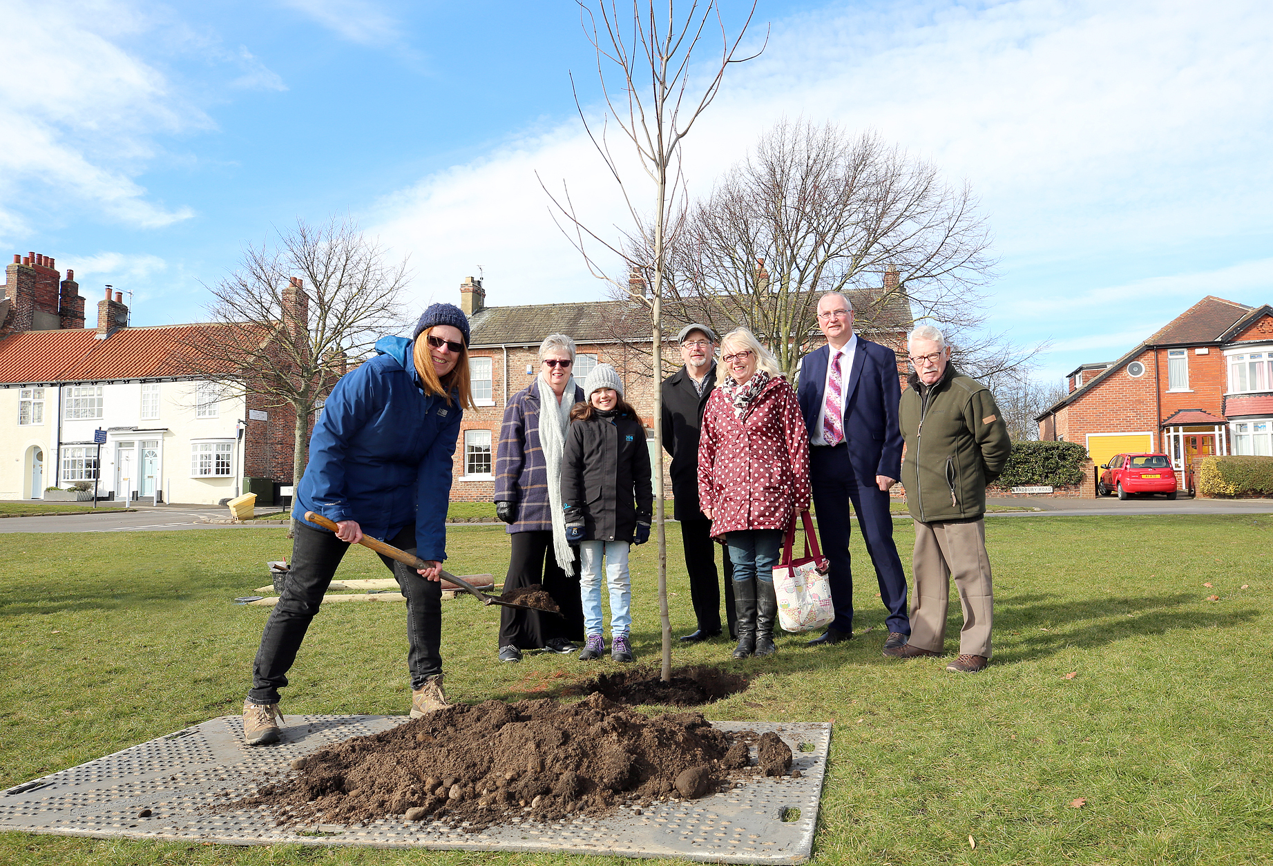 MEMORIAL: Tree planting on Norton Green in memorial of historian Bob Harbron. Pictured are Daughter Patricia Guirguis, daughter; Linda Jeavons; granddaughter Mary Guirguis, 11; son-in-law Michael Black; daughter Christine Black; Councillor Steve Nelson co