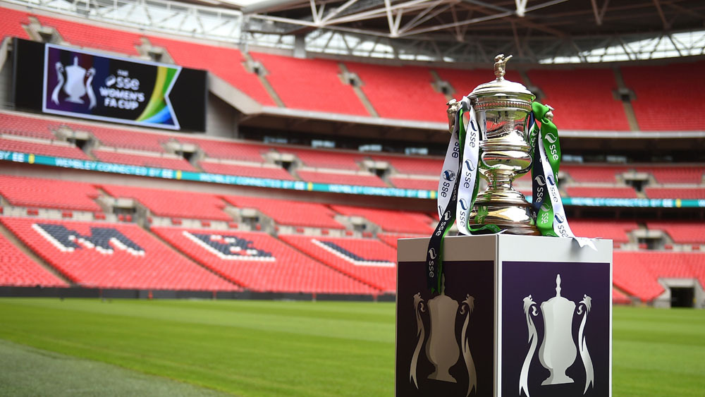 LONDON, ENGLAND - JULY 27:  The trophy is pictured during the SSE Women's Cup Final Media Day at Wembley Stadium on July 27, 2015 in London, England.  (Photo by Tom Dulat - The FA/The FA via Getty Images)