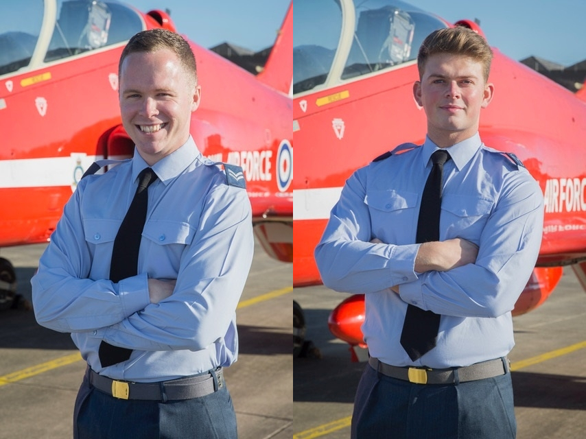 ARROWS: Corporal David Malcolm, left, and Senior Aircraftman Ben Scarr will help maintain The Red Arrows' two-seater Hawk aircraft