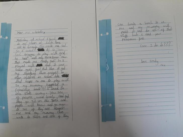 staindrop schoolgirl s loneliness letter inspires buddy bench the