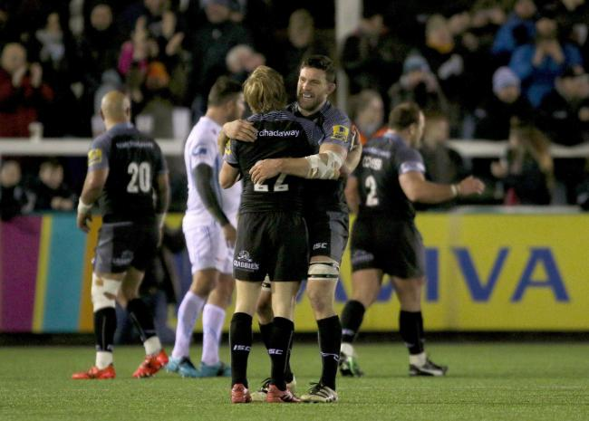 c7947195b89 Newcastle Falcons Joel Hodgson and Mark Wilson celebrate their win after  the Aviva Premiership match at