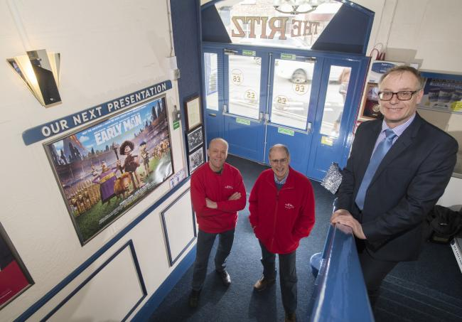 County Councillor Gareth Dadd, right, with Marc Davies, left, and Howard Wooldridge, of the Ritz cinema in Thirsk