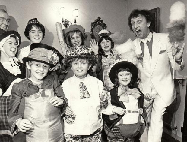 The Northern Echo: GEORGIAN THEATRE: Ken Dodd visiting Richmond in April 1985 where he was met by children from the Winston Follies group dressed as Diddymen