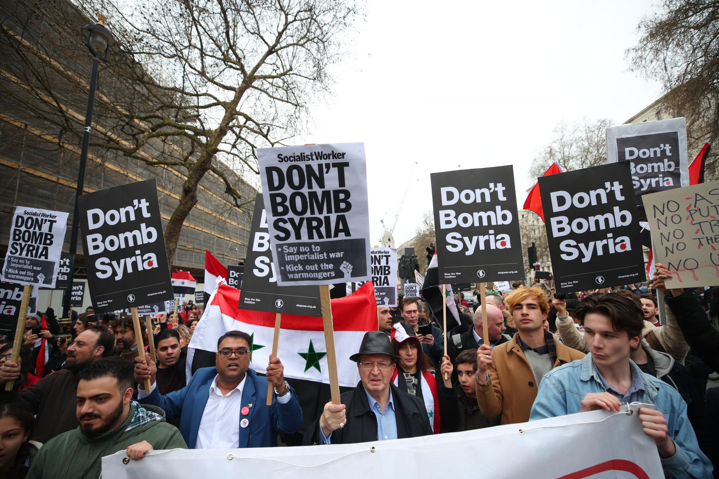 A protest on April 13 by Stop the War Coalition in Whitehall, near 10 Downing Street in London, after Labour MP Emma Dent Coad handed a letter in to Downing Street urging Theresa May not to take military action in Syria. Picture: Yui Mok/PA Wire