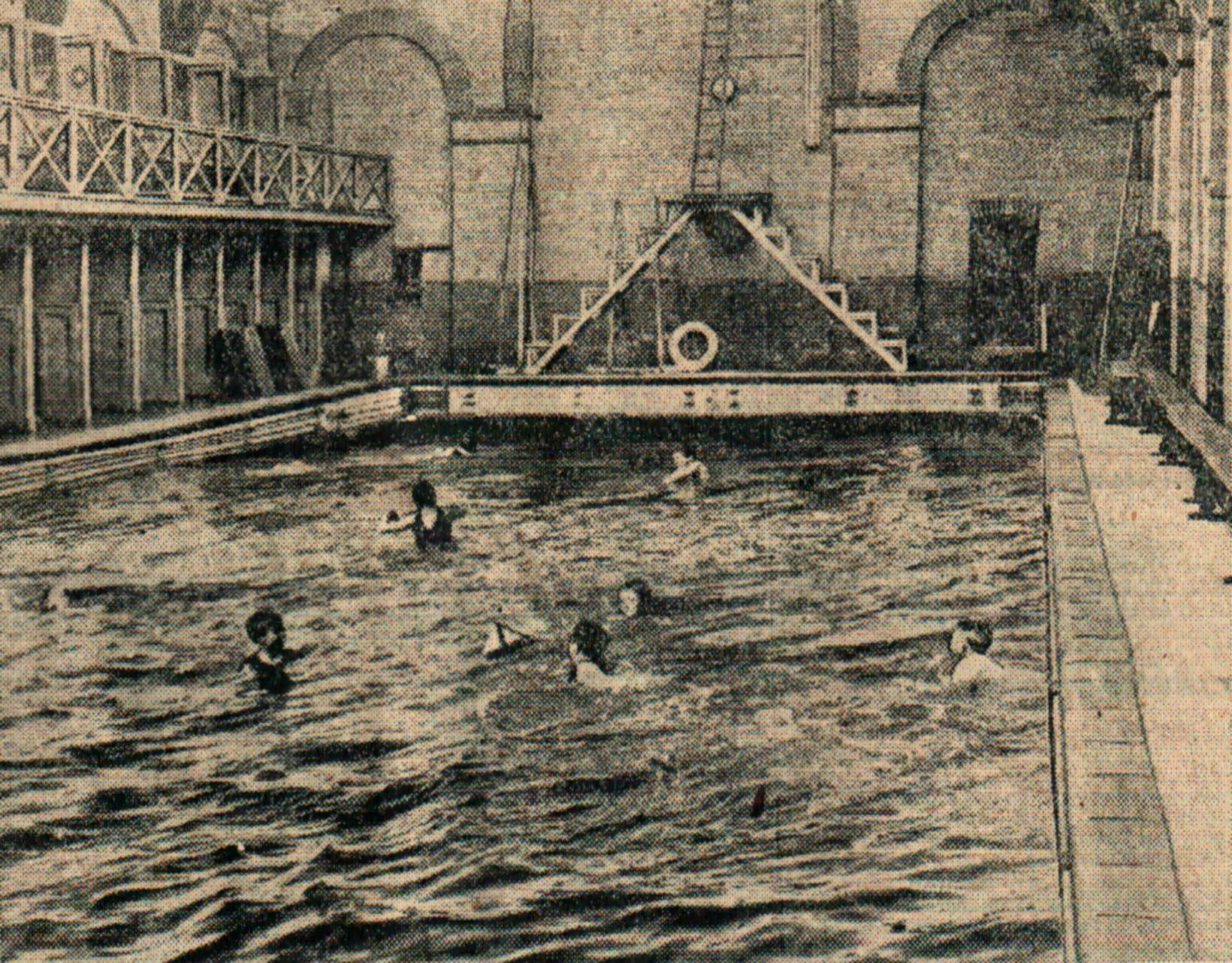 SWIMMING SESSION: Inside Saltburn's brine baths in 1913 – there's an upstairs gallery and a tall diving board at the far end.