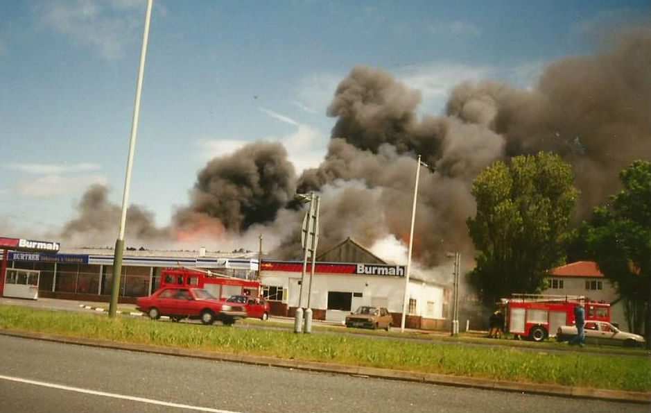 QUICK QUIZ: Burtree Gate caravans on fire on June 26, 1993. Can you guess how much petrol cost at the Burmah station on the day the flames caught hold? Answer at the foot of the page. Picture courtesy of Brett Clayton