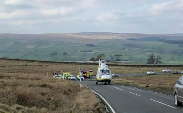CRASH: Emergency services are at the scene of a road traffic collision near Stanhope in Weardale Picture: DURHAM POLICE