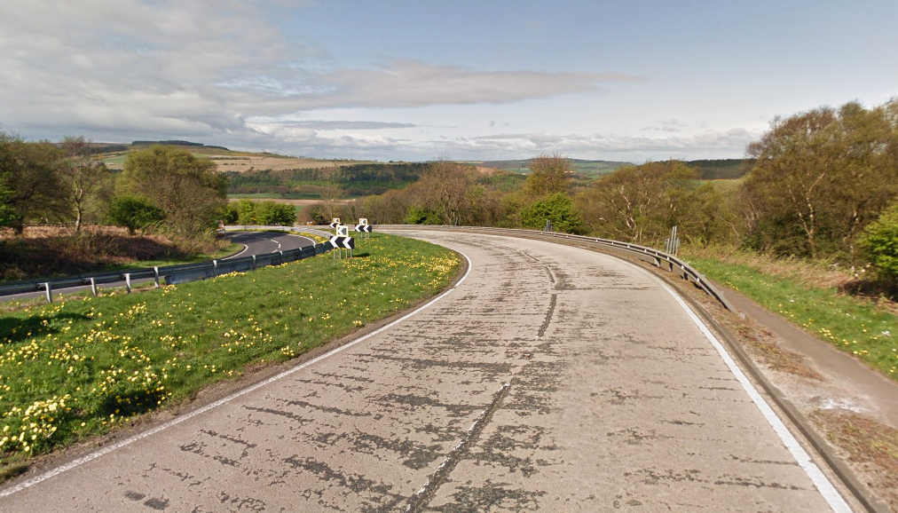 SCENE: The 70-year-old was out on his bike yesterday afternoon with a group of riders when he hit a barrier on the A171 at Birk Brow, near Guisborough. Picture: Google