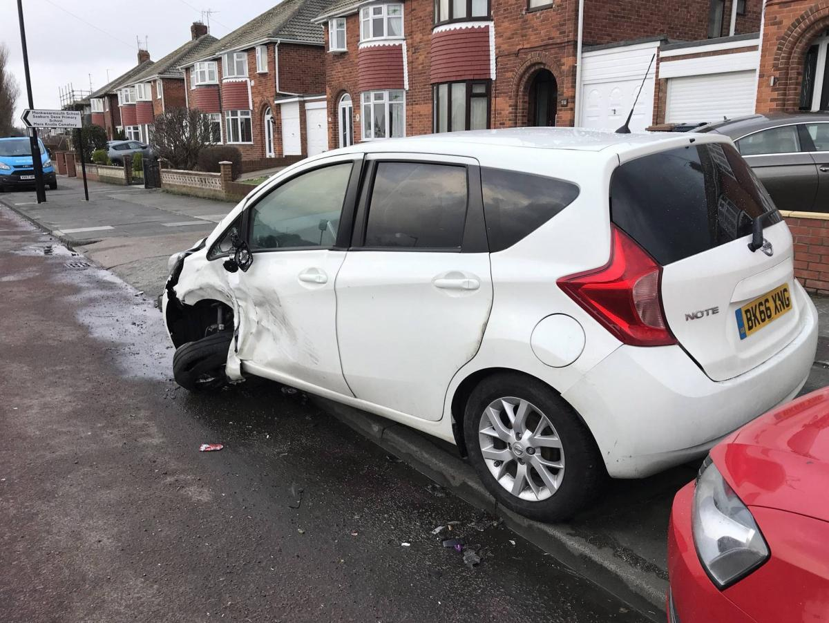 One of the cars damaged during the crash involving former Sunderland star Darron Gibson. This is not the car referred to in the article. Picture: North News