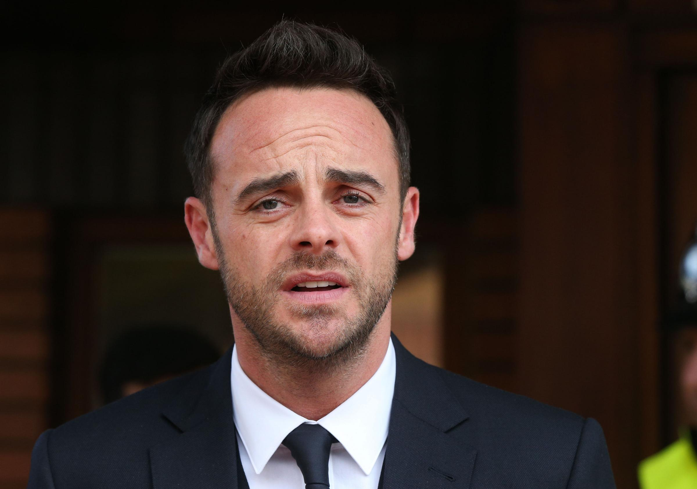 TV presenter Anthony McPartlin outside The Court House in Wimbledon, London, after being fined £86,000. Picture: PA