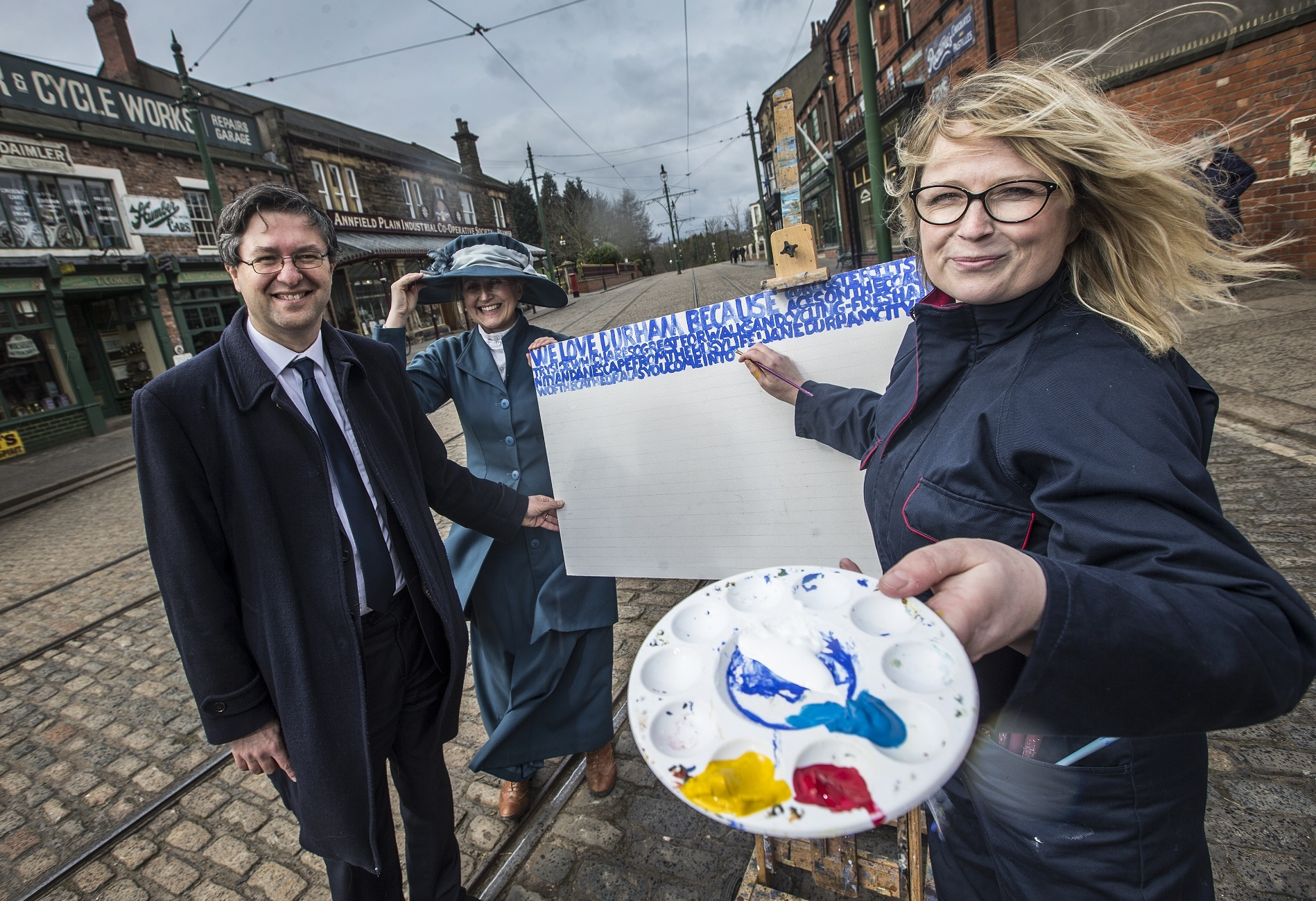 Artist Kara Strachan with Rhiannon Hiles, Deputy Director of Beamish, and Cllr Simon Henig, Leader of Durham County Council.