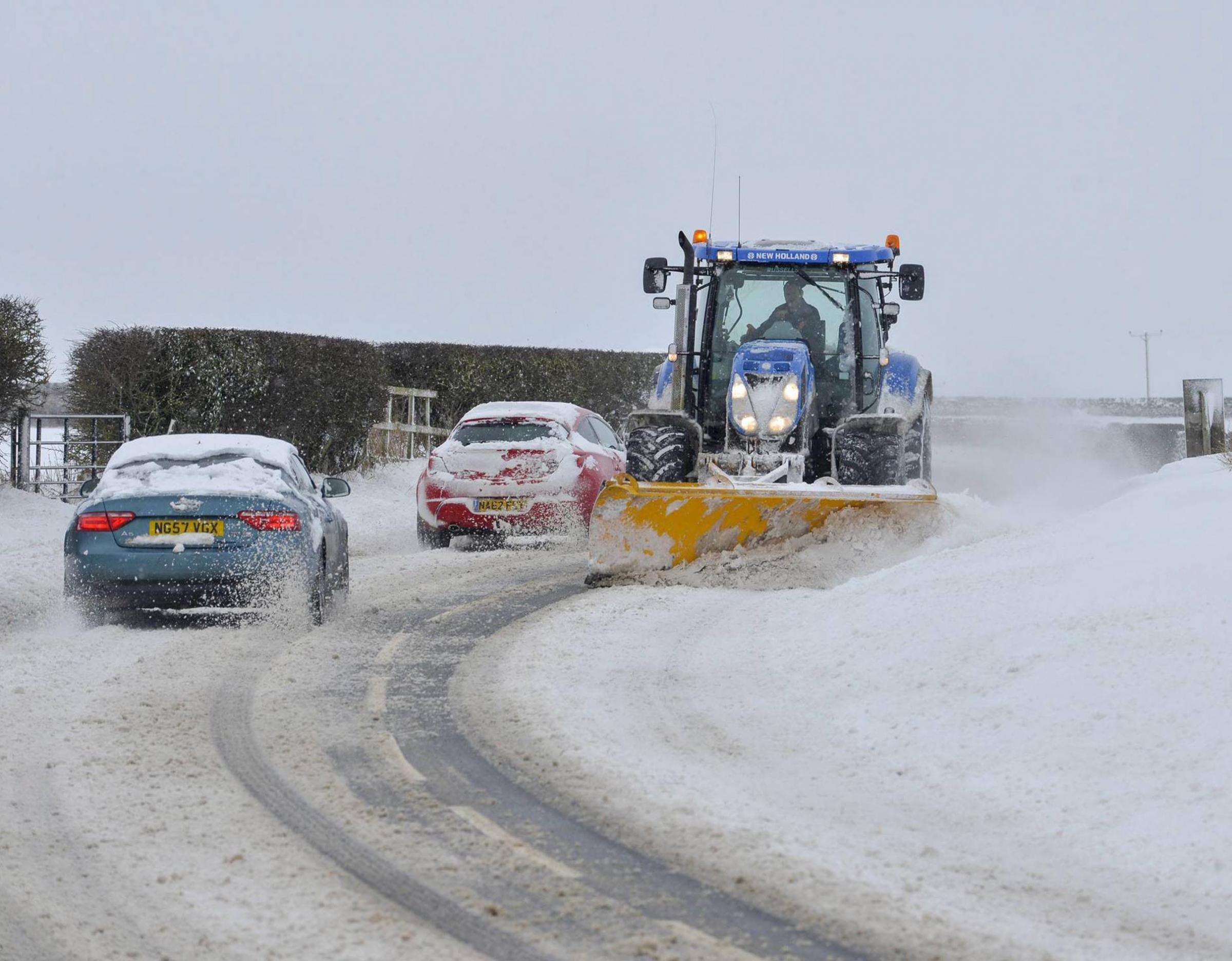 EFFORT: A snow plough trying to clear snow on the B6275 in County Durham during the Beast from the East                                                                     Picture: NORTH NEWS