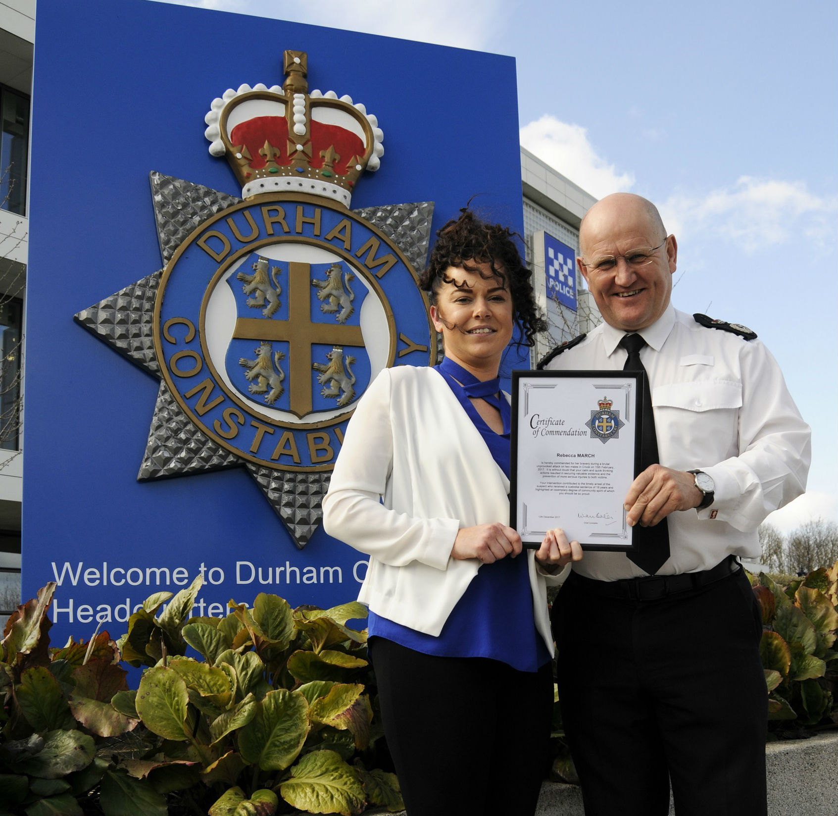 BRAVE: Rebecca March receives her commendation from Chief Constable Mike Barton