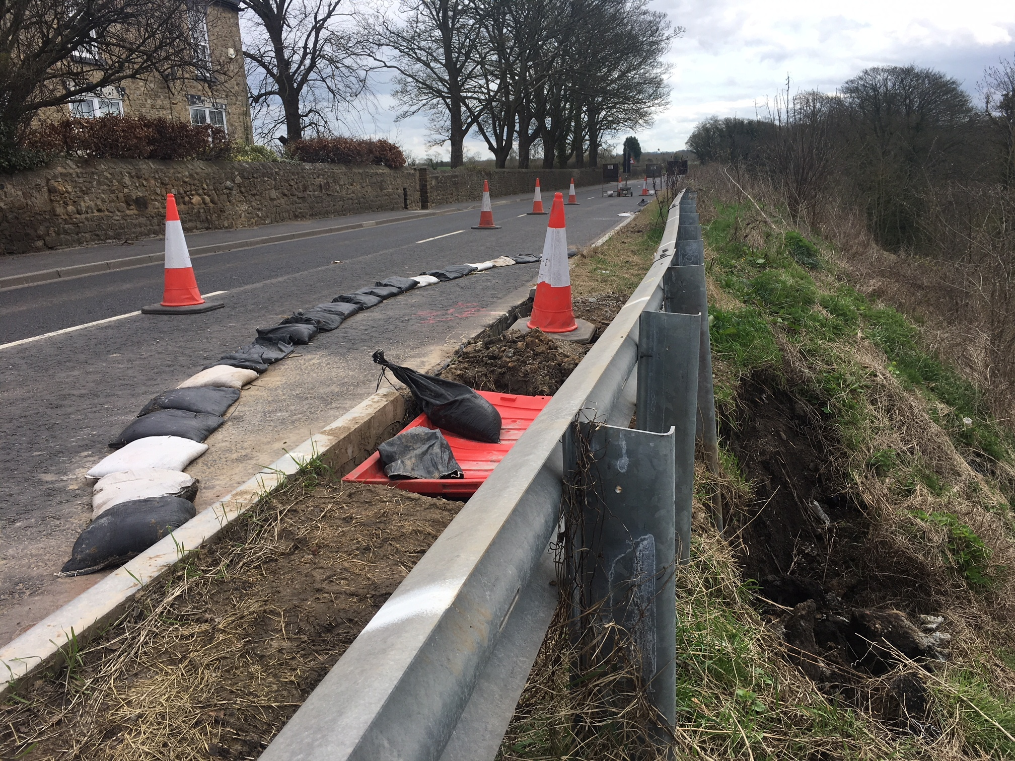 HOLE: Roadworks are being carried out on a stretch of the A67 where significant repairs were completed three years ago