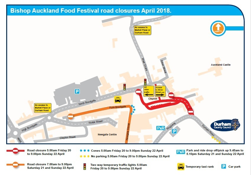 FESTIVAL: A map showing traffic arrangements for Bishop Auckland Food Festival