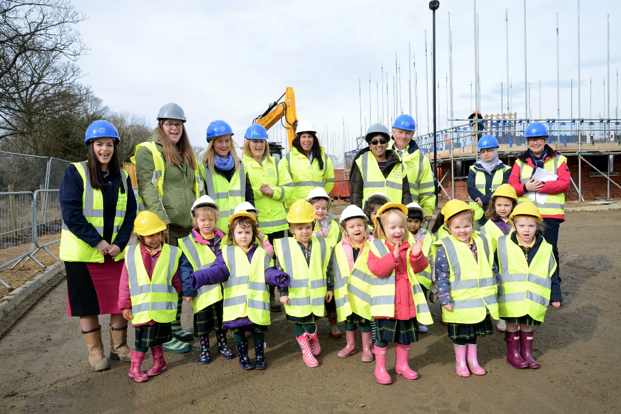 It was a matter of safety first when the youngsters from Rainbow Hill Nursery – and their teachers – visited The Drive to see how houses are built