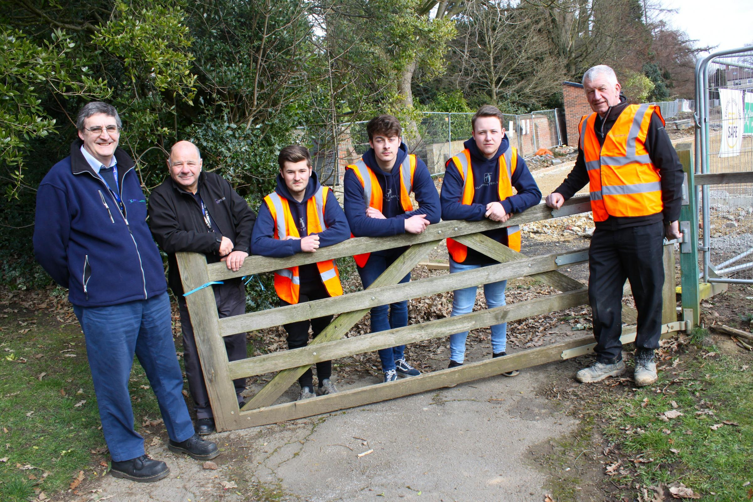 Visiting the site to have a look around recently were, from left, professional engineering tutors Dave Pengilley and Dennis Mccabe; Darlington College apprentice engineers  Dylan Mack, Sam Marchant and Cameron Moss-Cardie, and site manager Ian Swainston