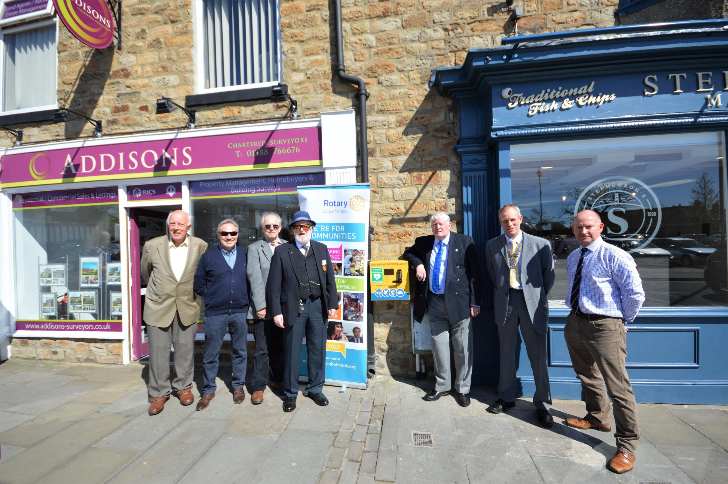 SUCCESS: Two defibrillators, including one outside Addisons Chartered Surveyors, have been installed in Crook, thanks to Crook Rotary Club and the Three Towns Area Action Partnership Picture: EDD FORSTER