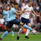 The Northern Echo: Tottenham Hotspur's Harry Kane (right) and Newcastle United's Jamaal Lascelles (left) battle for the ball during the Premier League match at Wembley Stadium, London. PRESS ASSOCIATION Photo. Picture date: Wednesday May 9, 2018. See PA story SOCCER