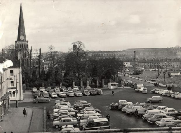 The Northern Echo: CHURCH CLOCK: An amazing picture, full of detail, taken from the roof of Darlington Covered Market in January 1967. These were the days when you could park on the Market Place – although just beneath the photographer, a beady-eyed ticket inspector, cap