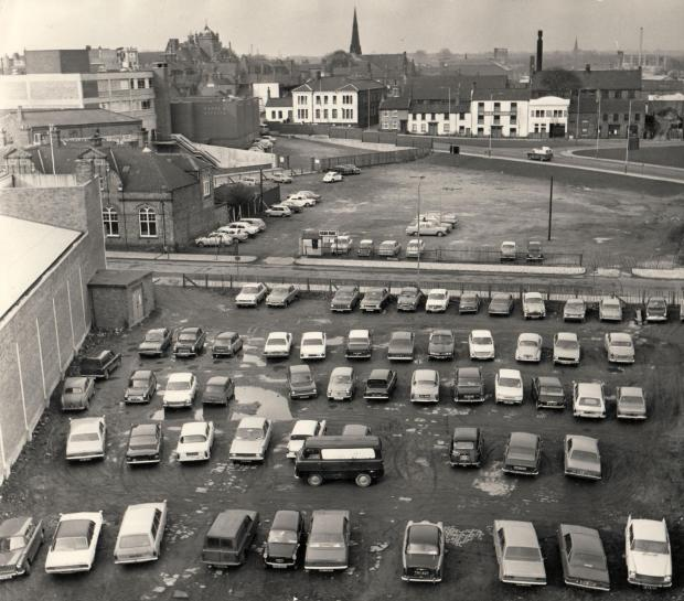 "The Northern Echo: MILL VIEW: This must be taken from the top of Peases Mill, on March 12, 1971. Immediately below is ""the Bowl park"", as it was behind the East Street ten-pin bowling rink which was hugely, but briefly, popular in the late 1960s. It has recently b"