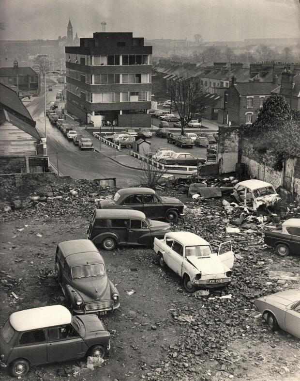 The Northern Echo: CAR GRAVEYARD: Cars parked and dumped at the top of Beaumont Street at the rear of Grange Road in January 1972. The headquarters of Age UK was built on the left of this picture, and the old brewery building on the left is now a club, Inside Out, but what