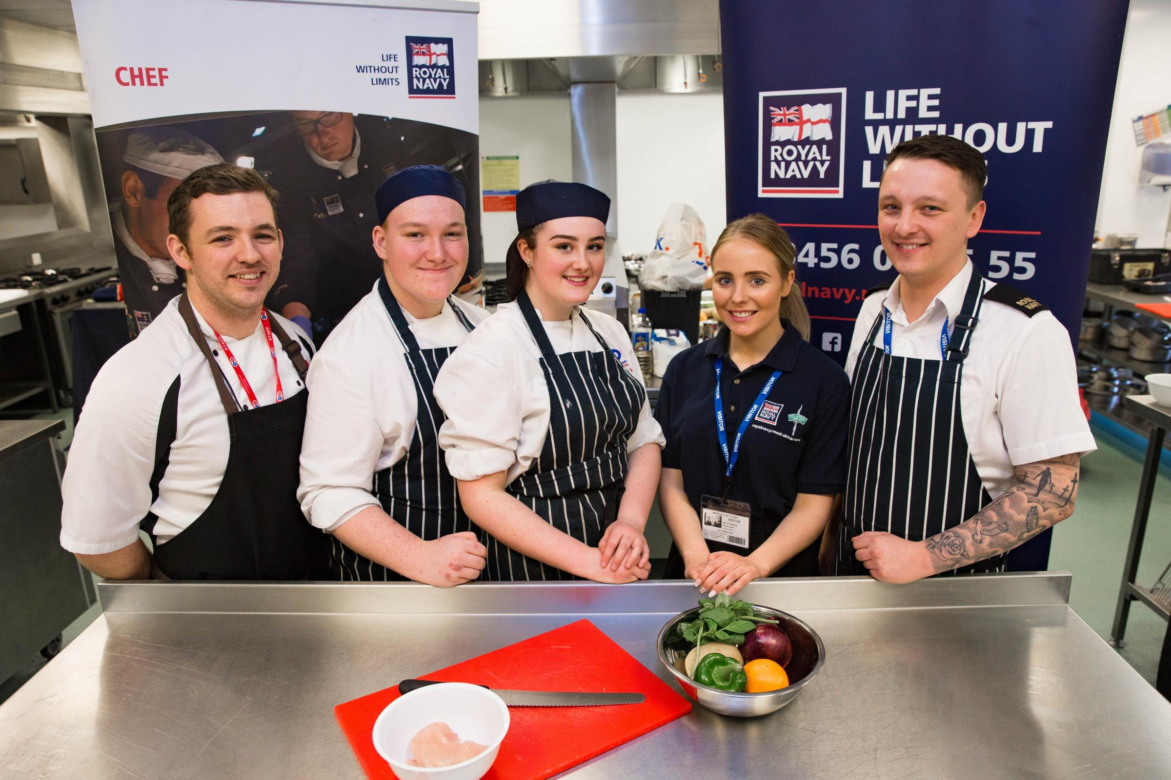 From left, catering lecturer Stephen Hardy, catering and hospitality students Sam Holmes and Brianne McTurk, Royal Navy Chef Millie Francis and Able Seaman Jack Thomson