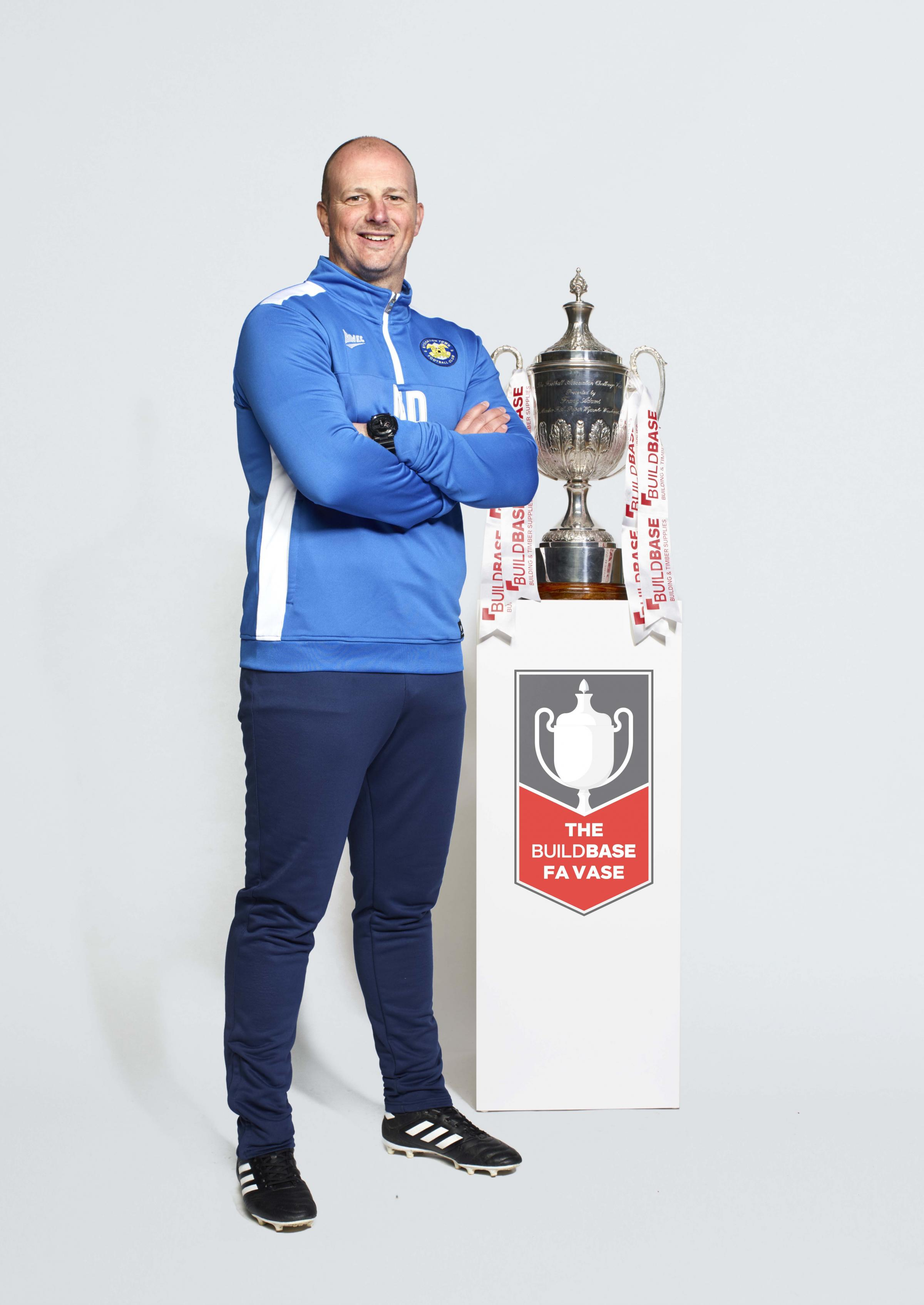 HEADING TO WEMBLEY: Stockton Town manager Micky Dunwell with the FA Vase