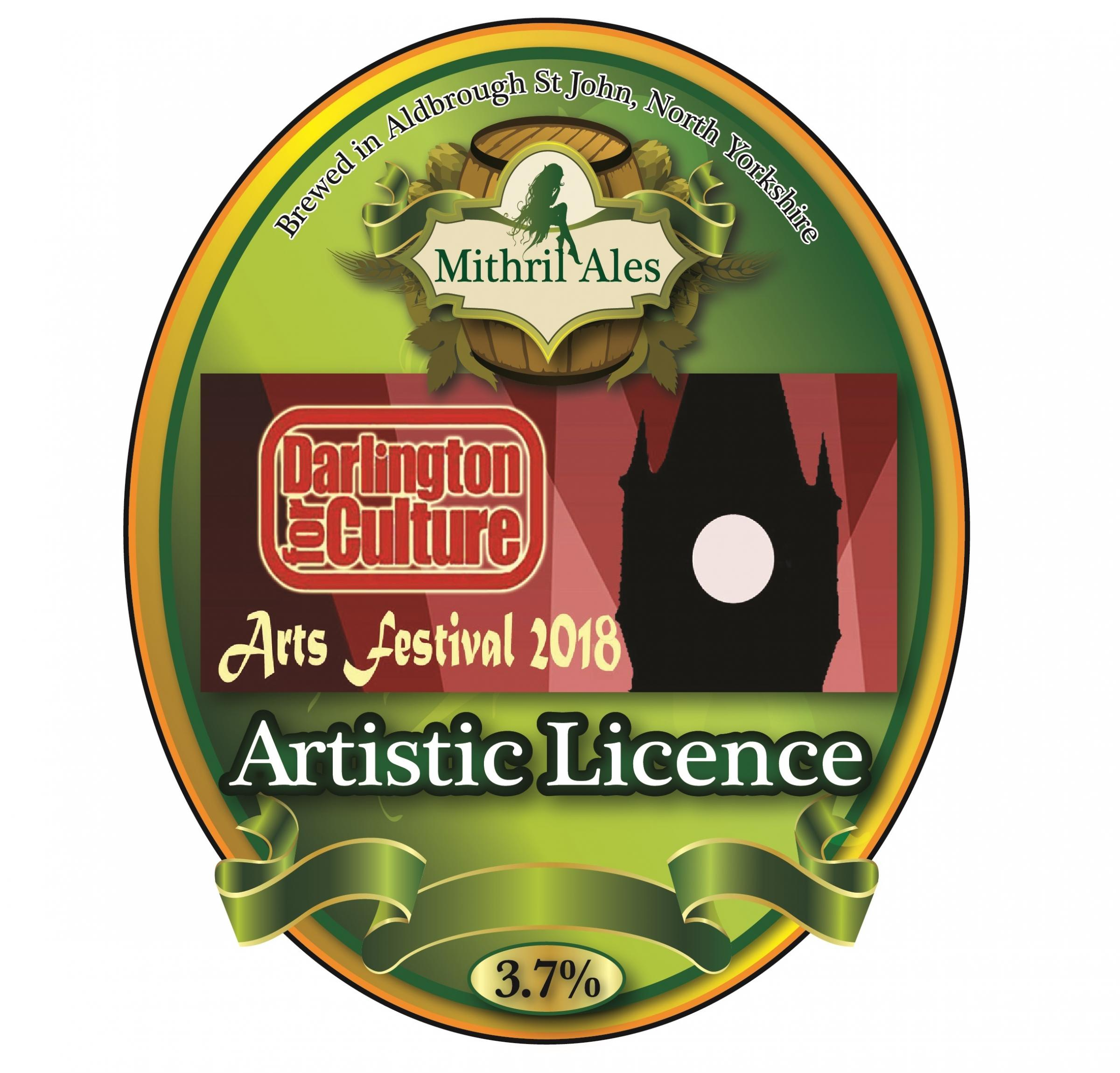 BREWED: The label for 'Artistic Licence', a beer brewed especially for the Darlington Arts Festival by local brewer Mithril Ales