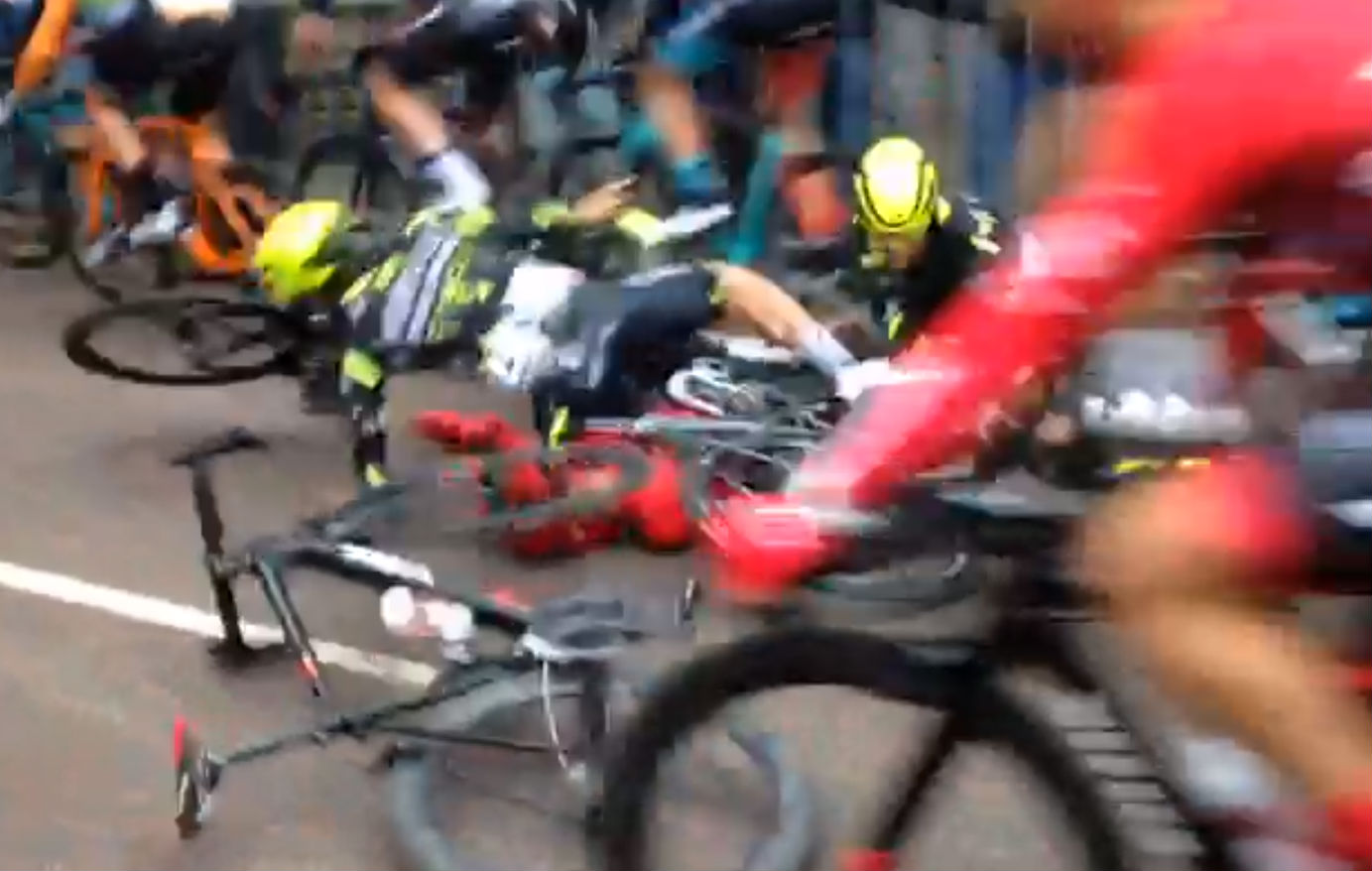 Watch: Huge crash at start of Tour Series cycling in Durham