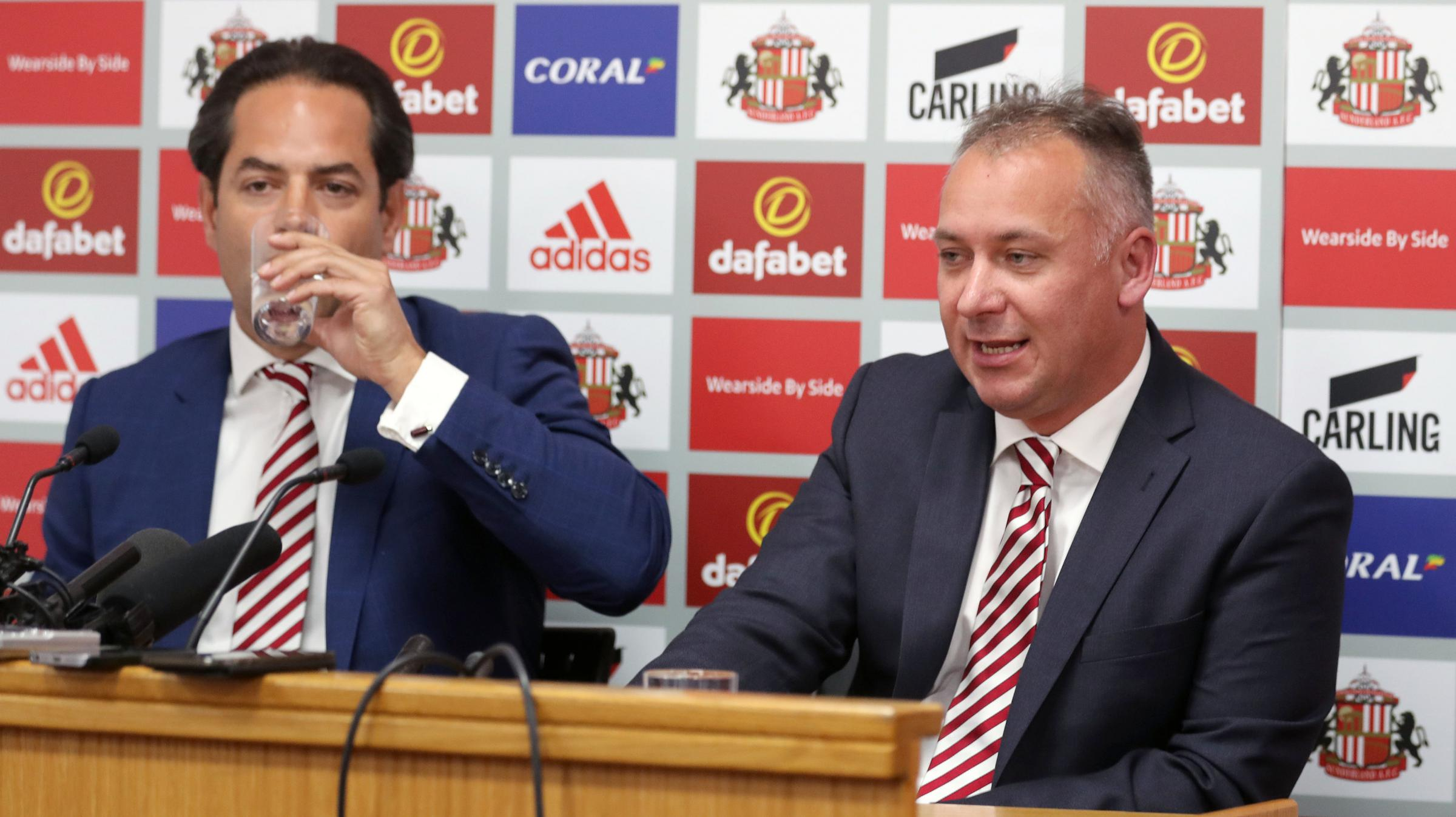 Sunderland new owner Stewart Donald (right) during the press conference at the Stadium of Light, Sunderland. PRESS ASSOCIATION Photo. Picture date: Monday May 21, 2018. See PA story SOCCER Sunderland. Photo credit should read: Owen Humphreys/PA Wire. REST